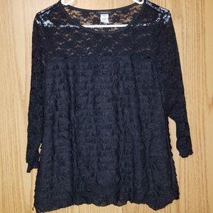 🌹Women's Cocomo Ruffle and Black Lace Blouse🌹